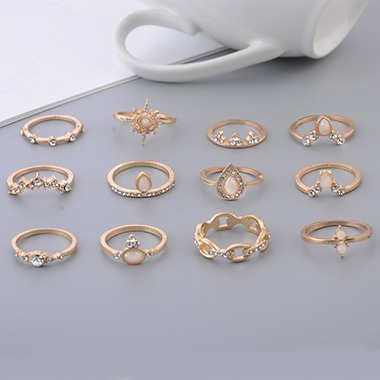 Gold Metal Various Shape Rhinestone Embellished Ring Set