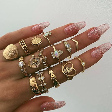 Various Shape Gold Metal Rhinestone Embellished Ring Set