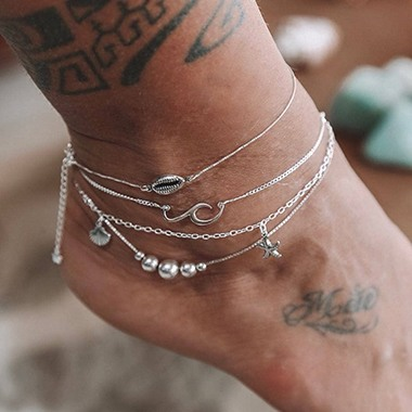 Bead Embellished Silver Metal Anklet Set