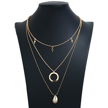 Seashell Pendant Layered Gold Metal Necklace