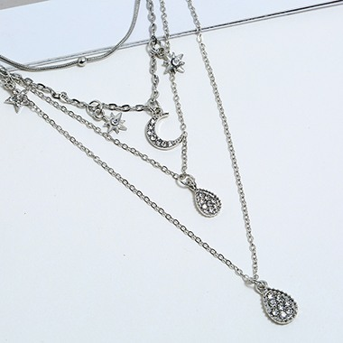 Silver Metal Moon Pendant Layered Necklace