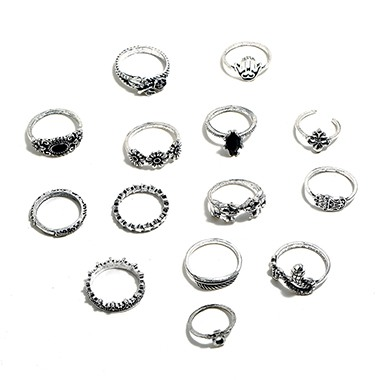 Silver Metal Ring Set for Woman