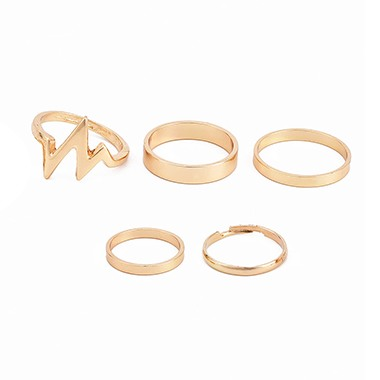Geometric Design Gold Metal Ring Set for Women
