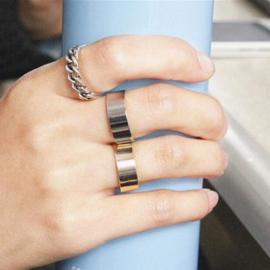 Hollow Design Silver Metal Ring Set for Women