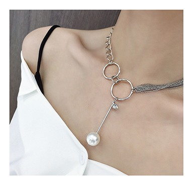 Pearl Embellished Silver Metal Necklace for Lady
