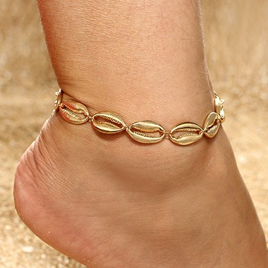 Seashell Design Gold Metal Anklet for Lady