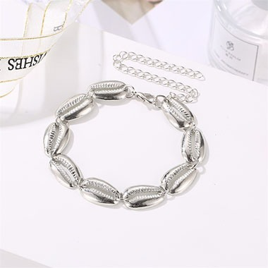 Silver Metal Seashell Design Anklet for Lady