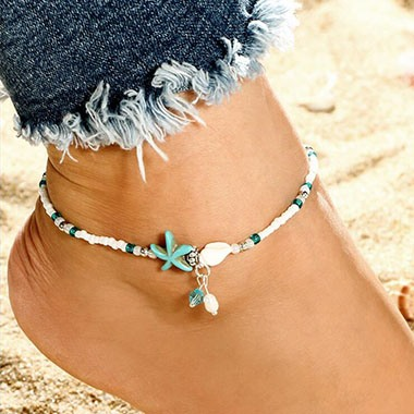 White Bead Embellished Star Design Anklet