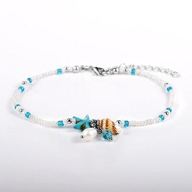 White Bead Embellished Star Design Anklet