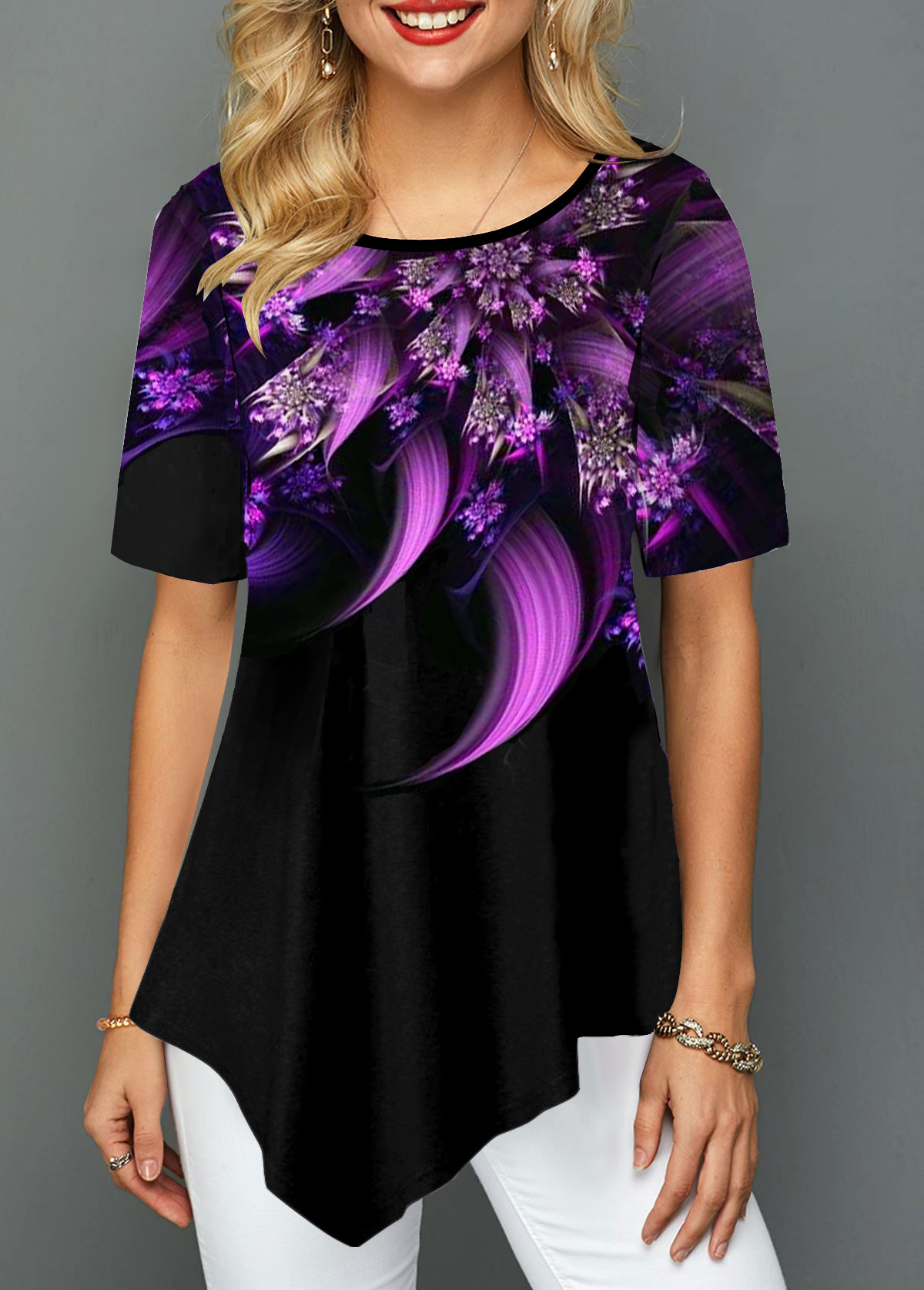 Flower Print Short Sleeve Asymmetric Hem T Shirt