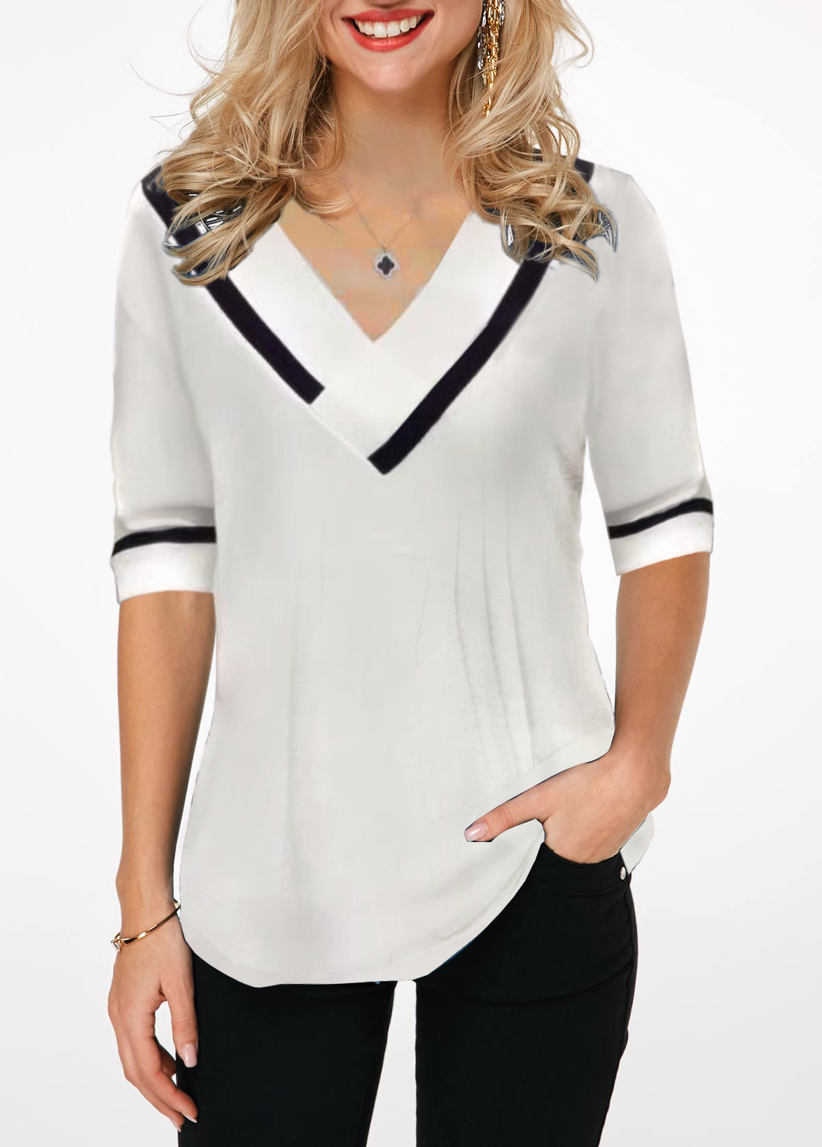 Contrast Stripe V Neck Half Sleeve Blouse