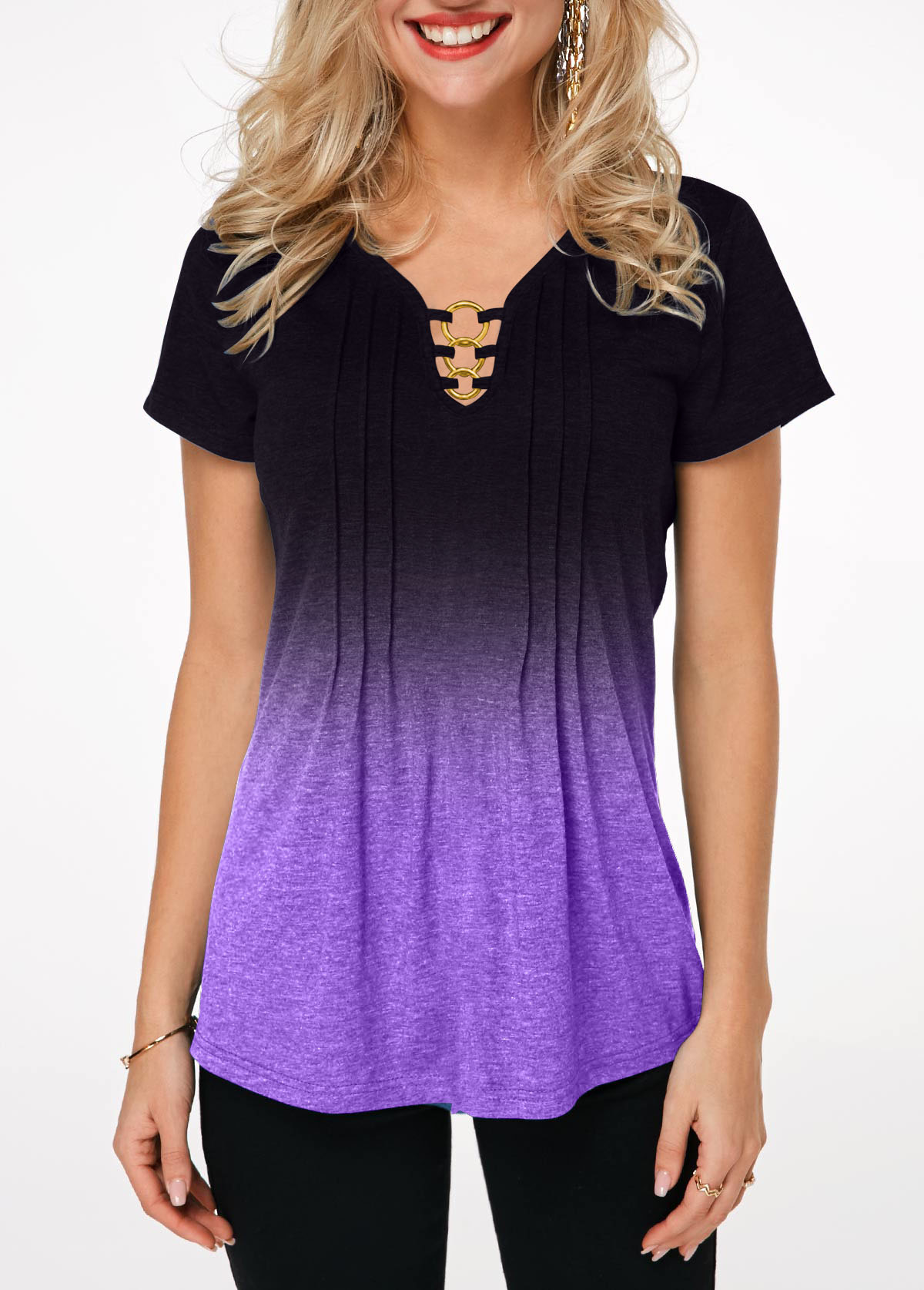 Crinkle Chest Metal Ring Embellished Gradient T Shirt