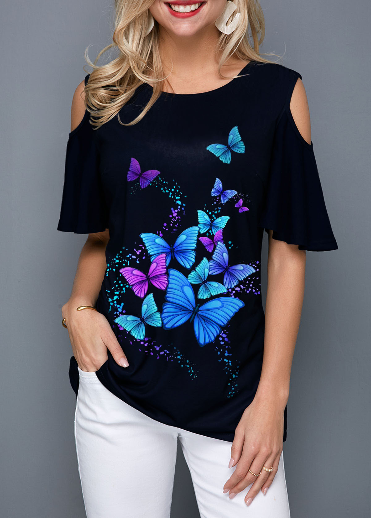 Round Neck Butterfly Print Cold Shoulder Blouse