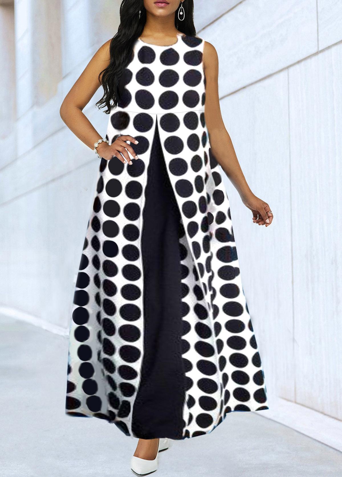Dot Print Faux Two Piece Sleeveless Maxi Dress