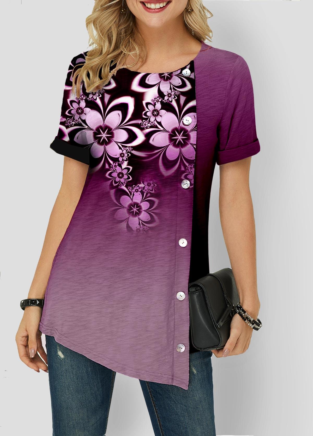 Gradient Asymmetric Hem Button Detail T Shirt