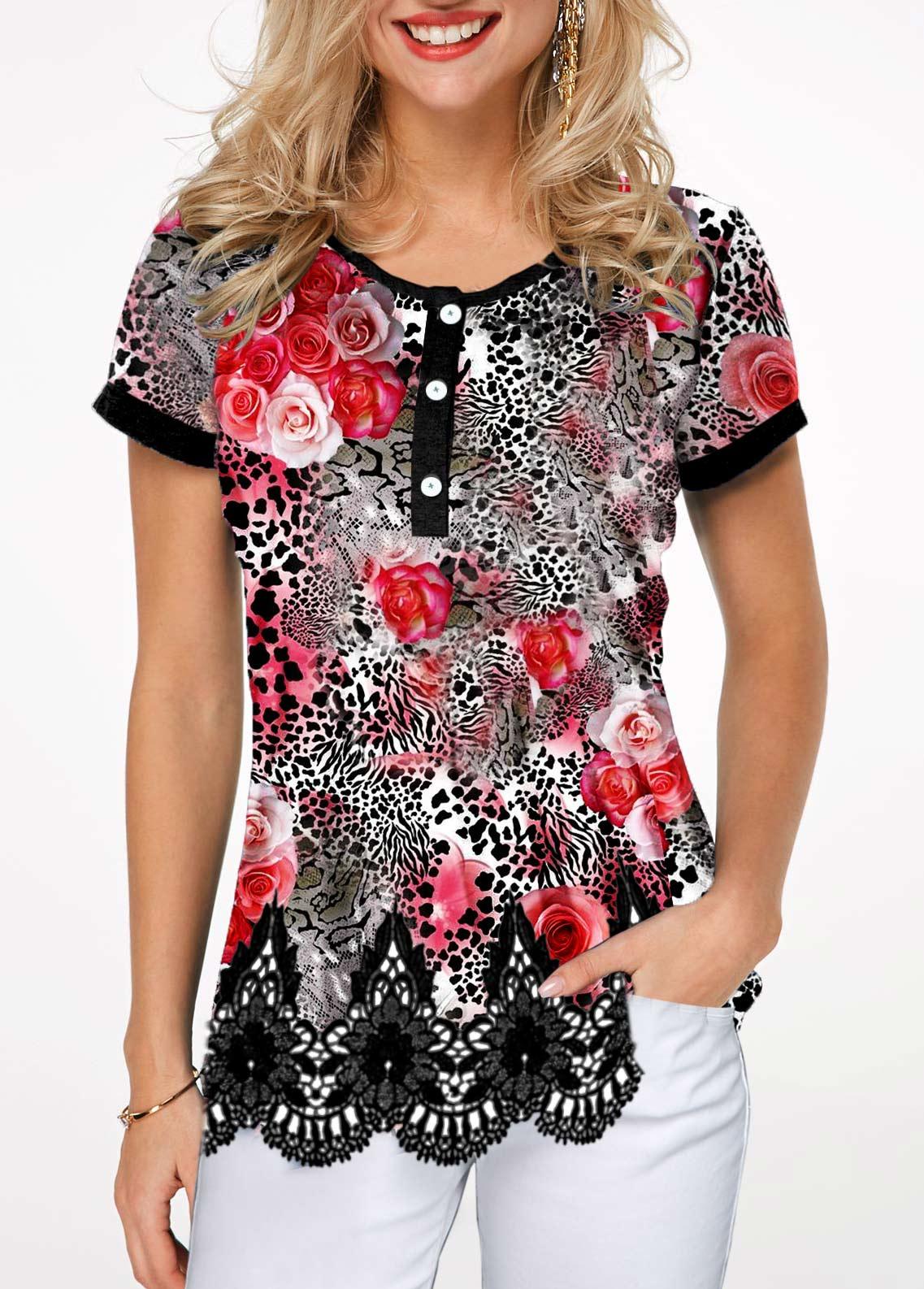 Scalloped Hem Half Button Leopard Print T Shirt