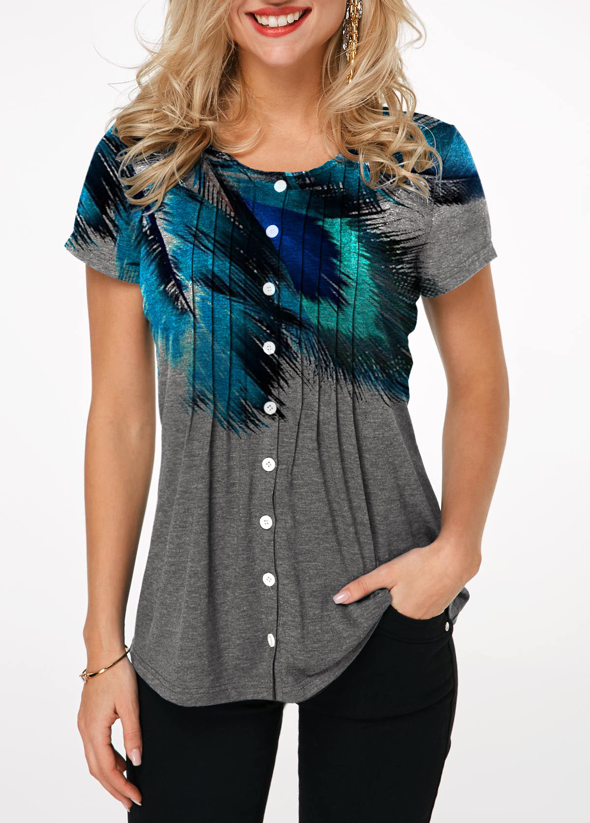 Printed Button Up Crinkle Chest T Shirt