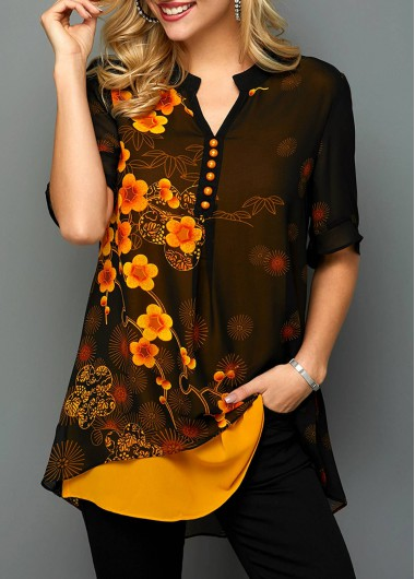 Women'S Black Split Neck Faux Two Piece Floral Printed Half Sleeve Blouse Button Detail Tunic Casual Top By Rosewe - L