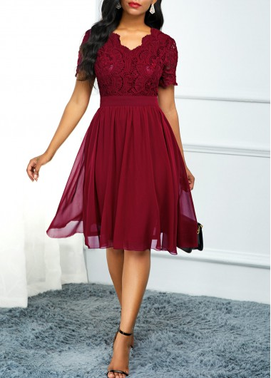 Women'S Wine Red Lace Short Sleeve A Line Cocktail Party Dress Solid Color V Neck Burgundy High Waisted Knee Length Dress By Rosewe - L