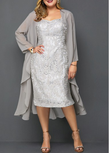Women'S Plus Size Light Grey Mother Of The Bride Dress Chiffon Overlay Lace Straight Long Sleeve Flowy Sheath Square Neck Midi Party Dress - 0X