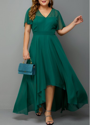 Women'S Plus Size Dark Green Chiffon High Low Evening Party Dress Solid Color Short Sleeve Maxi Prom Dress By Rosewe - 0X