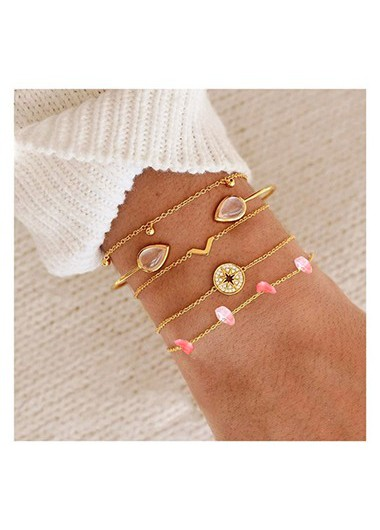 Mother's Day Gifts Gold Metail Rhinestone Detail Bracelet Set for Lady - One Size