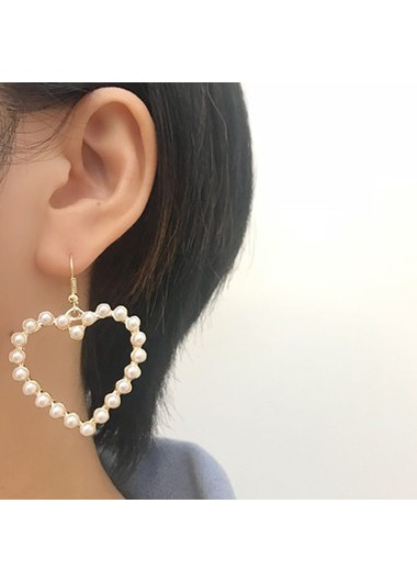 Heart_Shape_Gold_Metal_Bead_Embellished_Earring_Set__One_Size