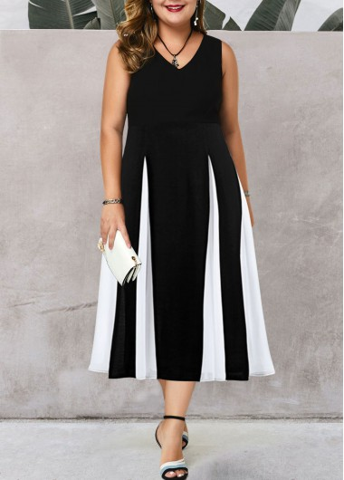 Women'S Plus Size Black And White Casual Dress Color Block Sleeveless High Waisted Midi Tea Length Dress By Rosewe - 0X