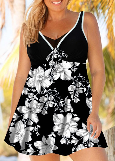 Women'S Black Plus Size Swimdress Bathing Suit Floral Printed V Neck Two Piece Padded Wire Free Strappy Swimsuit And Shorts By Rosewe - 0X