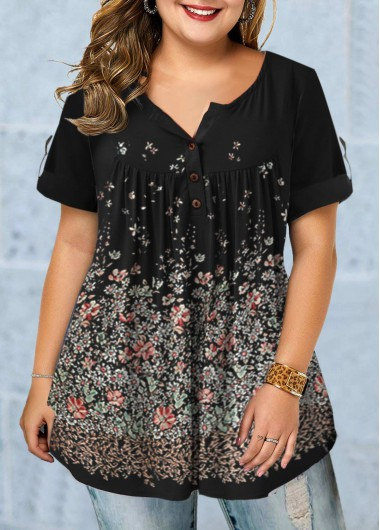 Roll Tab Sleeve Floral Print Plus Size Blouse - 0X