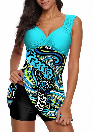 Open Back Paisley Print Swimdress and Shorts - L