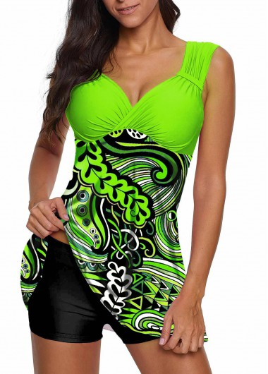 Women'S Green Paisley Printed Open Back Mid Waist Two Piece Swimdress Bathing Suit Padded Wire Free Wide Strap Swimsuit By Rosewe - L
