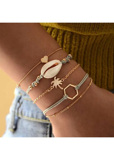 Mother's Day Gifts Gold Metal Geometric Design Seashell Shaped Bracelet Set - One Size