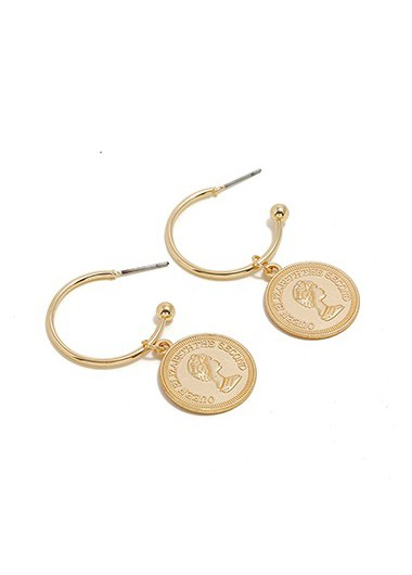 Mother's Day Gifts Gold Metal Coin Pendant Character Design Earring Set - One Size