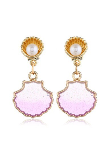 Mother's Day Gifts Gold Metal Pearl Embellished Seashell Shaped Earrings - One Size