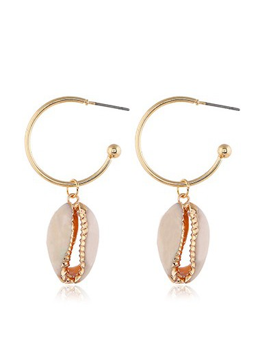 Mother's Day Gifts Seashell Shaped Gold Metal Earrings for Women - One Size