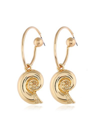 Mother's Day Gifts Snail Shell Shaped Gold Metal Earrings for Lady - One Size