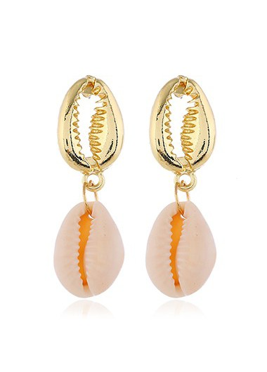 Mother's Day Gifts Seashell Shape Gold Metal Earring Set for Lady - One Size