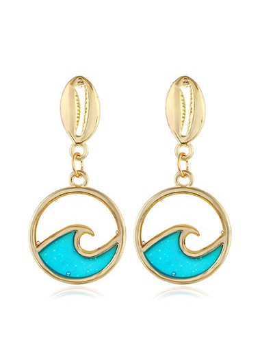 Mother's Day Gifts Gold Metal Seashell Shape Earring Set - One Size