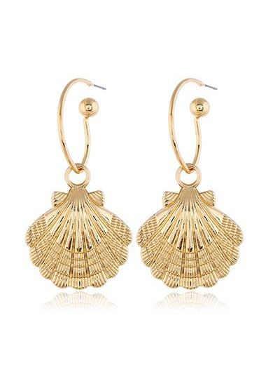 Mother's Day Gifts Gold Metal Seashell Shape Earring Set for Lady - One Size