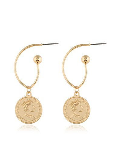 Mother's Day Gifts Gold Metal Character Design Earring Set for Women - One Size