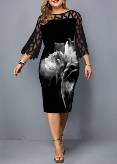 Women'S Plus Size Black Floral Sheath Dress Cocktail Party Illusion Lace Panel Three Quarter Sleeve Knee Length Flower Printed Dress By - 0X