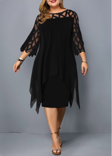 Women'S Black Plus Size Casual Dress Solid Color Illusion Cocktail Party Three Quarter Sleeve Round Neck Mesh Sheath Midi Panel Dress By - 0X