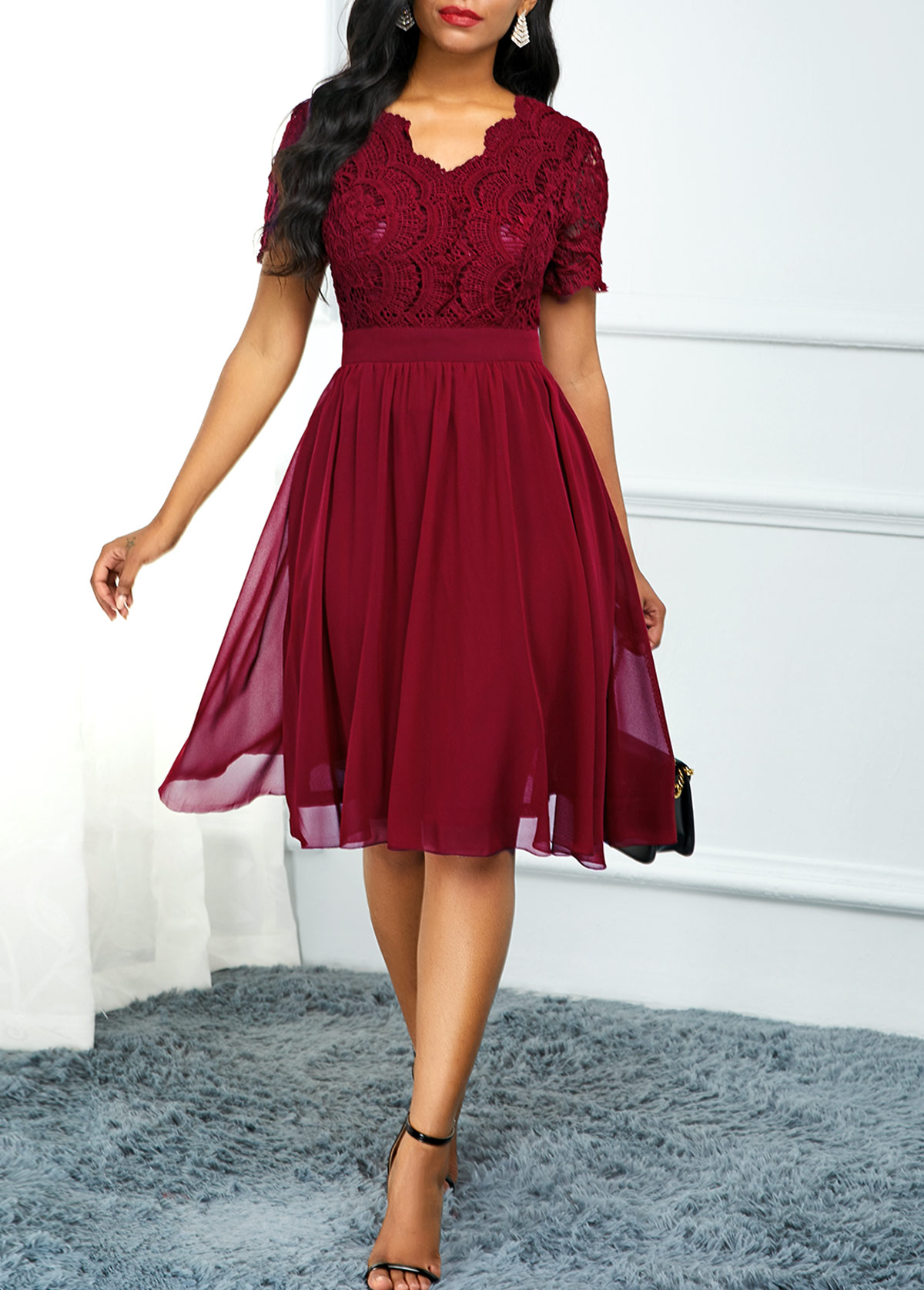 High Waist Lace Panel Short Sleeve Dress