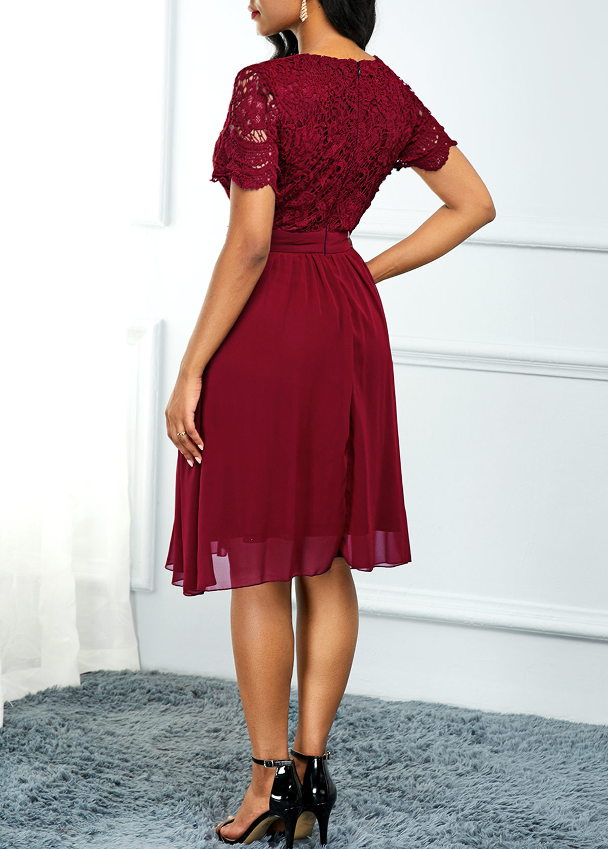 High Waist Lace Panel Short Sleeve Red Dress