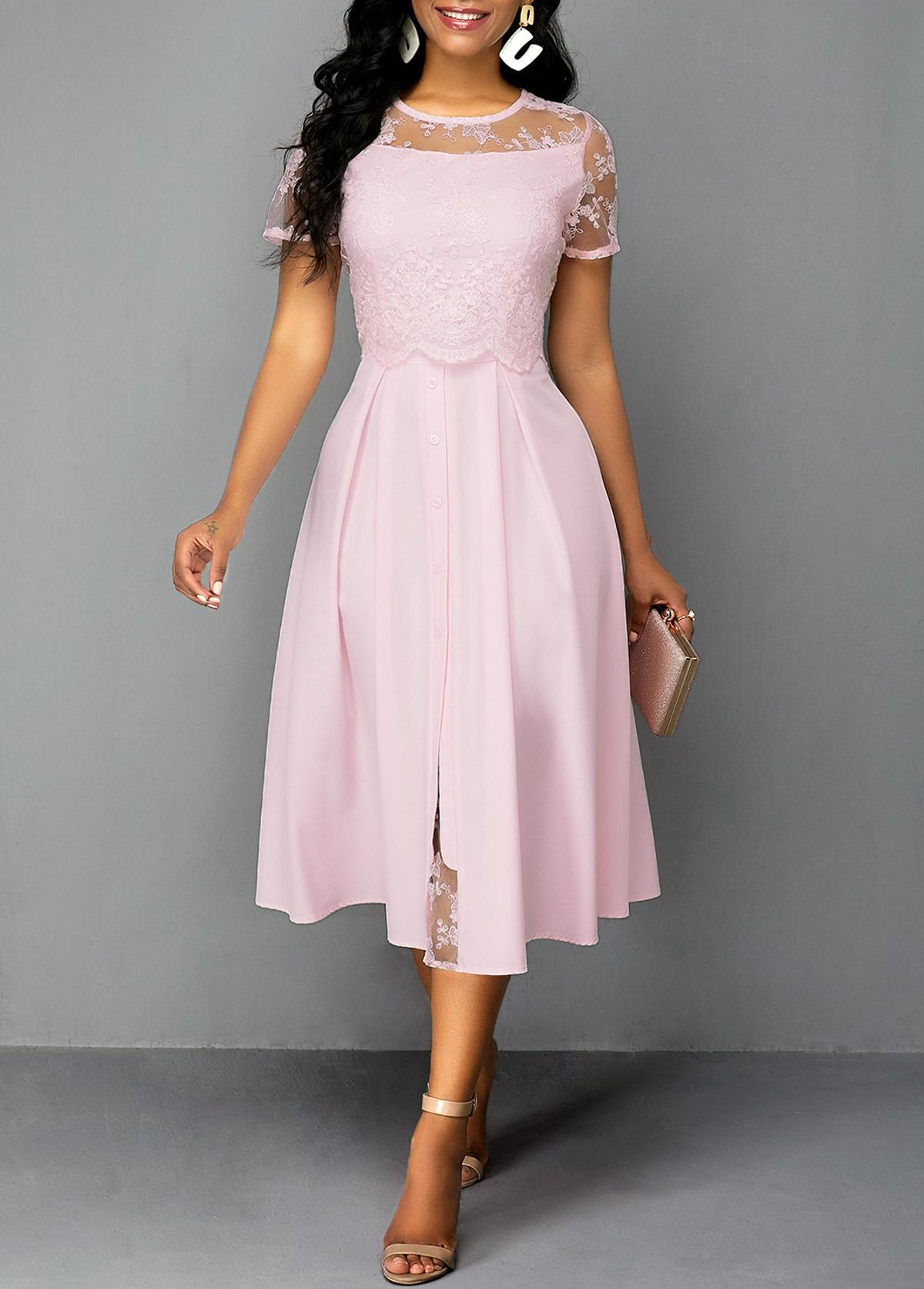 Round Neck Lace Panel Zipper Back Dress