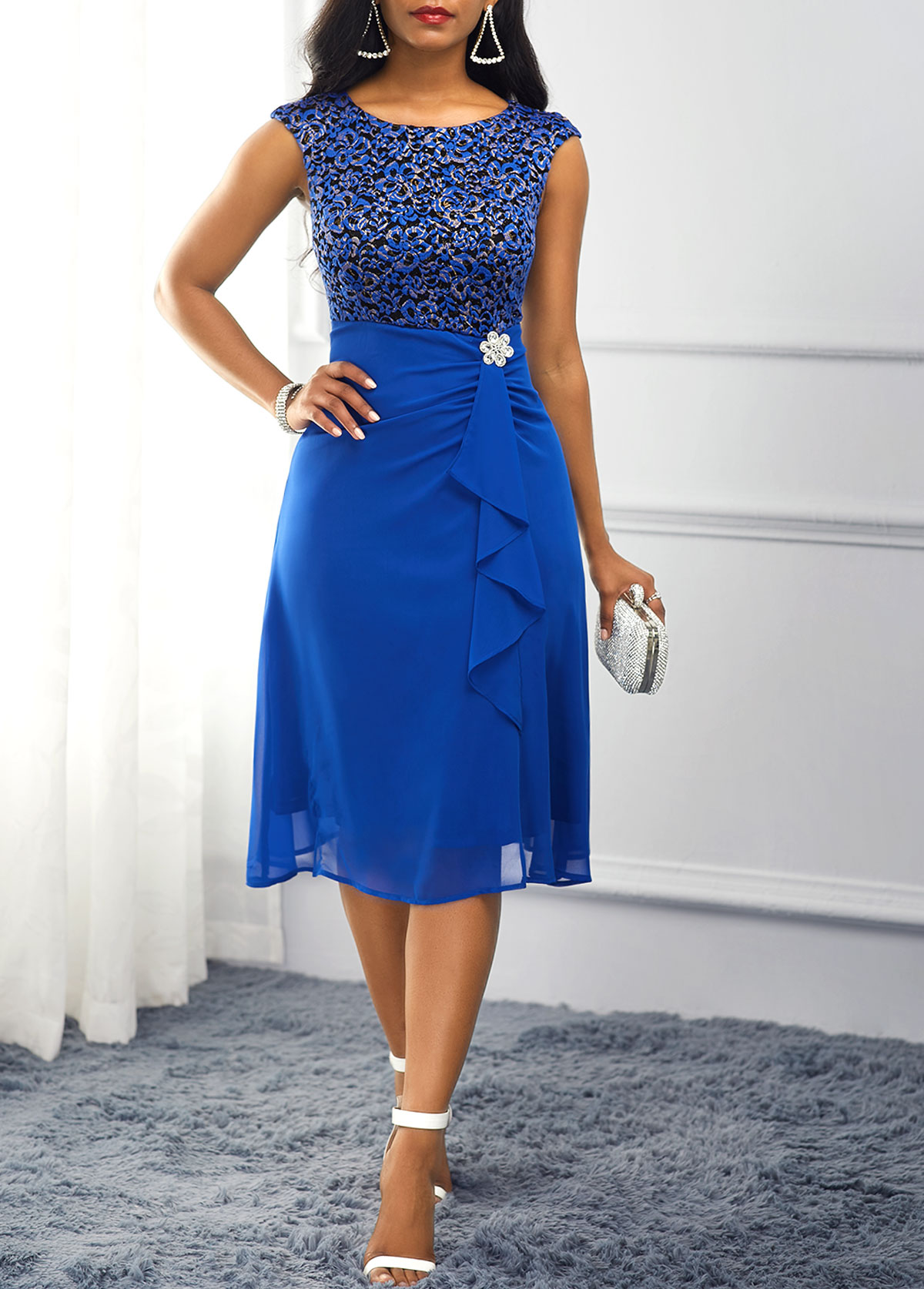 Rhinestone Embellished Royal Blue High Waist Dress