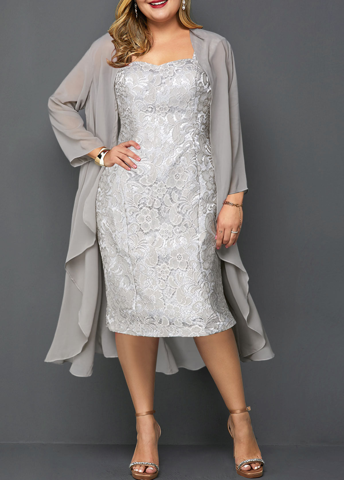 Plus Size Chiffon Cardigan and Sleeveless Lace Dress
