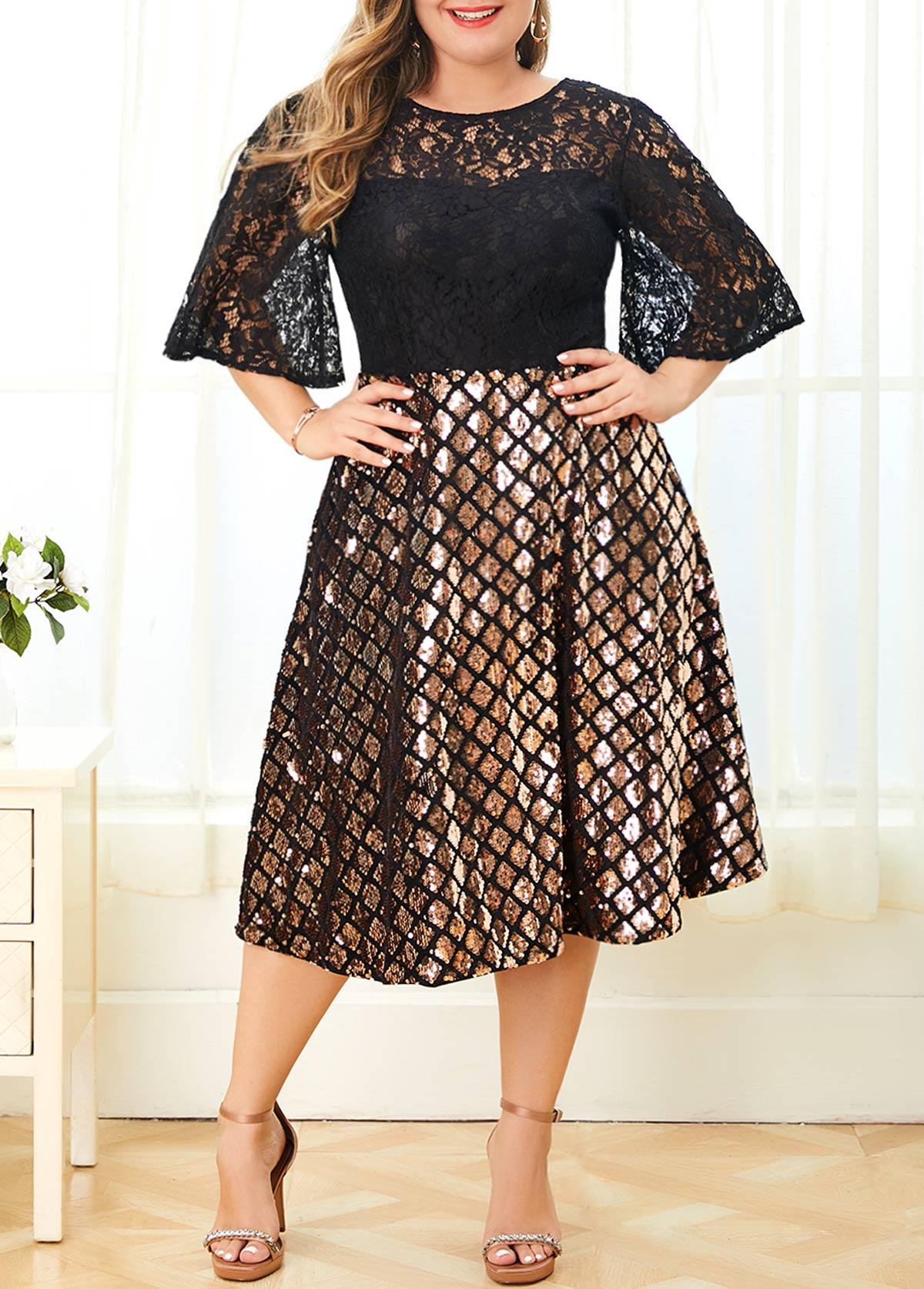 Zipper Back Lace Panel Plus Size Sparkle Dress