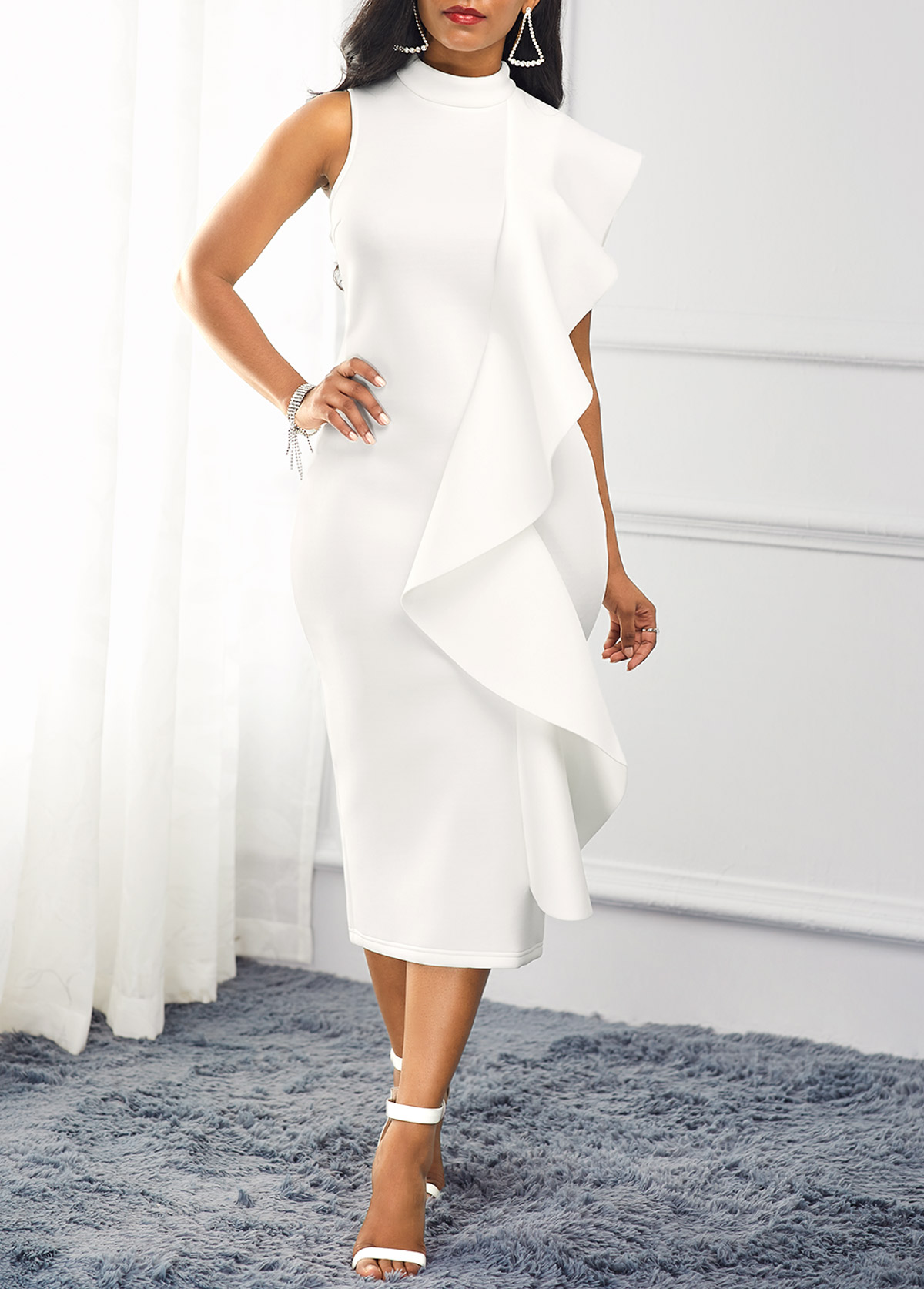 Ruffle Trim White Mock Neck Dress